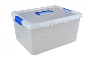 15 Litre Plastic Storage Boxes with Clip on Lids and Carry Handle