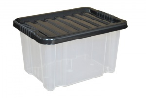24 Litre Plastic Storage Boxes with Black Lids
