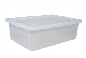 32 Litre Underbed Plastic Storage Boxes with Clear Lids