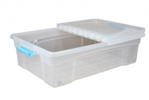 32 litre underbed plastic storage boxes with clip handle. Black Bedroom Furniture Sets. Home Design Ideas
