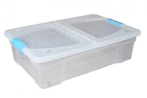 32 litre underbed plastic storage boxes with clip handle lids and wheels. Black Bedroom Furniture Sets. Home Design Ideas