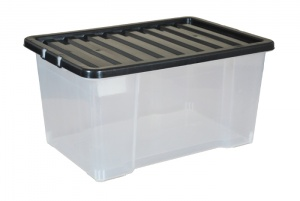 Slight Seconds 50 Litre Plastic Storage Boxes with Black Lids