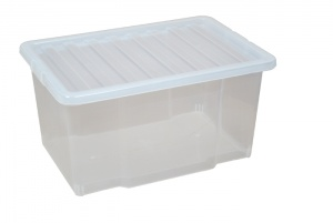 50 Litre Plastic Storage Boxes with Clear Lids