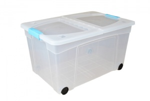 60 Litre Plastic Storage Boxes with Clip Handle Lids and Wheels