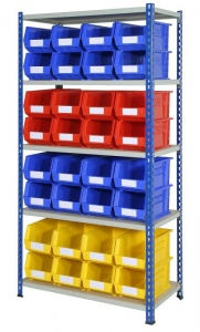 Shelving Bay with 32 Rhino Tuff Bin40 Parts Storage Bins