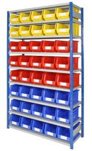 Shelving Bay with 40 Rhino Tuff Bin40 Parts Storage Bins
