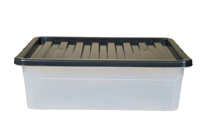 32 Litre Underbed Plastic Storage Boxes with Black Lids