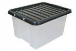 35 Litre Plastic Storage Boxes with Black Lids